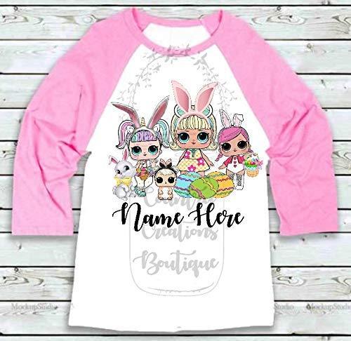Easter LOL Doll Personalized Raglan Shirt, Bunny Tee Shirt, Cottontail LOL  Dolls T Shirt, T-Shirt