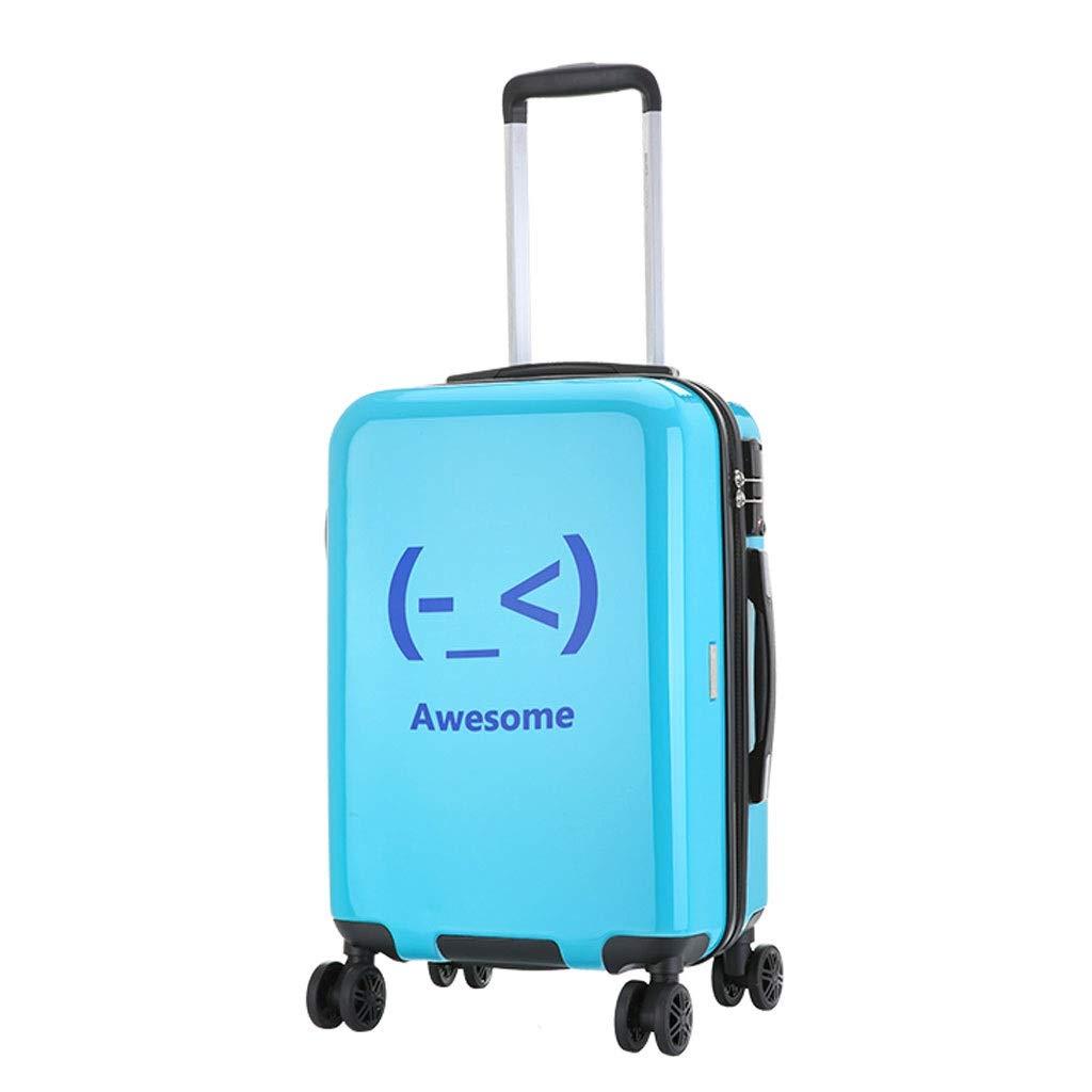 FRF トロリーケース- 人および女性のための普遍的な車輪のトロリー箱20インチ、創造的でかわいい表現搭乗スーツケース24インチ (色 : 青, サイズ さいず : 20in) 20in 青 B07QQFKF23