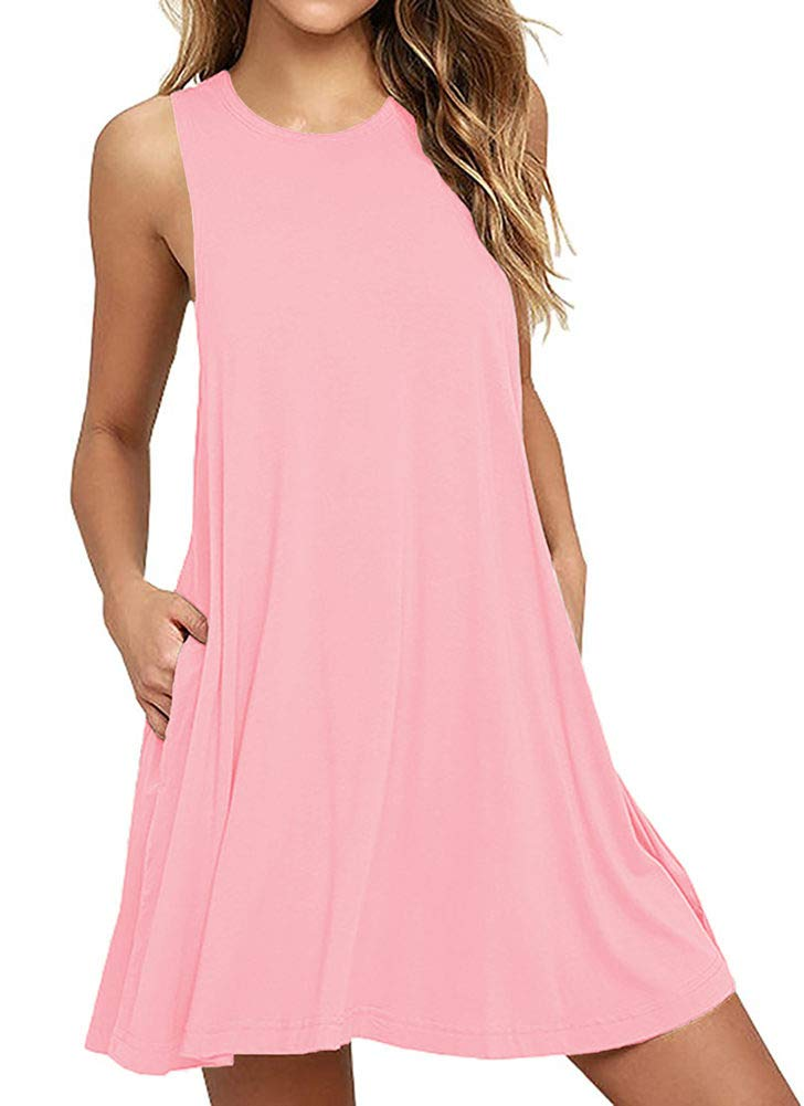 441c028b6b BISHUIGE Women's Summer Work Casual Tshirt Dress Sleeveless Swing Beach  Dresses with Pockets Pink L