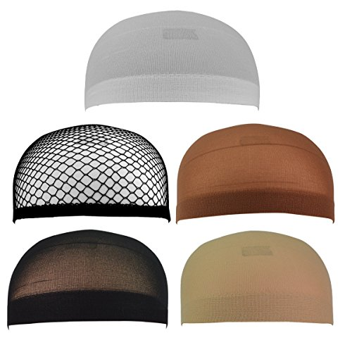 Jmkcoz 5 Pack Wig Caps Nylon Net Mesh Wig Cap One Size Elastic Stretchy Close End Hair Styling Accessories Unisex for Women and Men ()