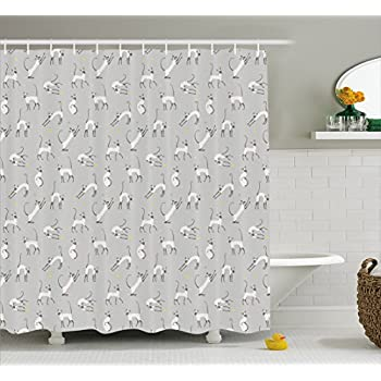 Grey Decor Shower Curtain by Ambesonne, Cute Siamese Cat Wall Design Playing and Posing Feline Asian Kitty Animal Home Decor, Fabric Bathroom Decor Set with Hooks, 70 Inches, Dimgrey