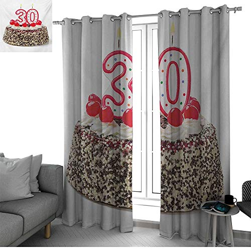 bybyhome 30th Birthday 2 Panels Set Bedroom Kitchen Birthday Cake with Cherries on The Top and Burning Candles Number 30 Print Room Decor for Boys Multicolor W120 x L96 Inch