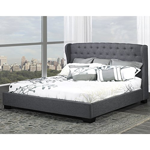 Diamond Tufted Wing Back Bed (Uptown Club Royce Collection Modern Upholstered Platform Bed with Diamond Tufted Wingback Headboard, Queen, Slate)