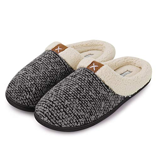 CIOR Fantiny Men's Memory Foam Slippers Wool-Like Plush Fleece Lined Slip-on Clog Scuff House Shoes Indoor & Outdoor-U118WMT022-gray-44.45