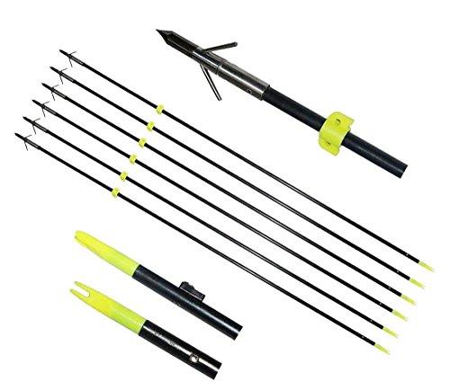 TOPARCHERY 6X 34 Bowfishing Arrows with Broadheads Arrowhead Hunting Fish Fibergalss Shaft