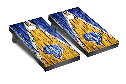 NFL Los Angeles Rams Throwback Triangle Weathered Version Football Corn hole Game Set, One Size by Victory Tailgate