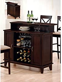 coaster style solid wood bar unit with wine rack deep cappuccino finish