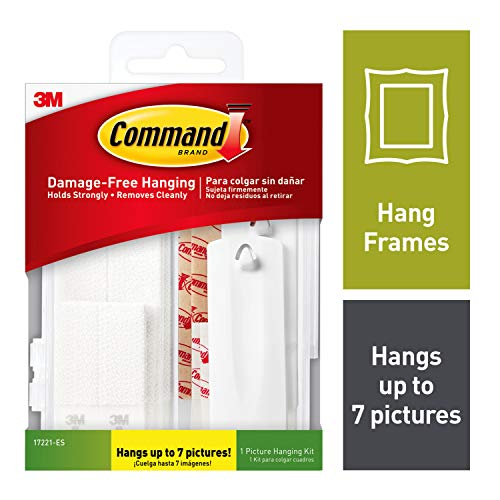 Command 17221-ES Kit Hangs up to 7 Pictures, 14 Piece, White