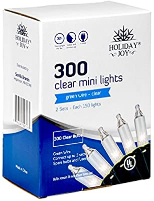 Holiday Joy - Clear White Green Wire Christmas Tree String Lights - Indoor/Outdoor
