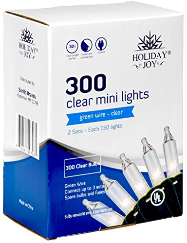 Holiday Joy - 300 Count Clear White Christmas String Lights - Indoor/Outdoor