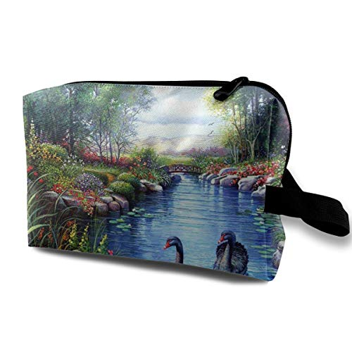 Travel Makeup Cosmetic Bag Brush Pouch Black Swans River Flowers Painting Zipper Pen Organizer Carry Case