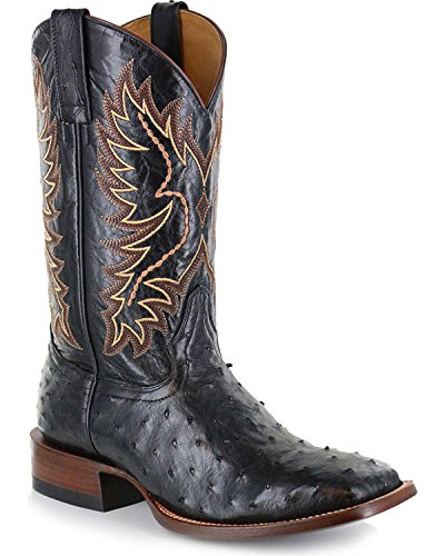 Cody James Men's Full Quill Ostrich Exotic Boot Wide Square Toe Black 12 D(M) US