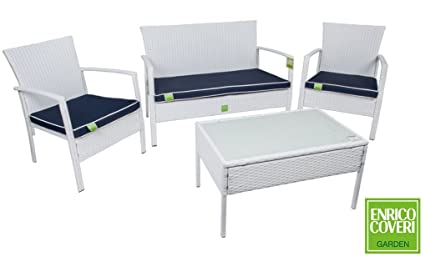 Arredo Giardino Rattan Bianco.Set Completo Sofa Trend Bianco In Poly Rattan Enrico Coveri Arredo