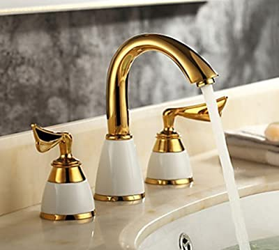 Yanksmart® 3 Pieces Wide Mini-spread Golden Color Tap 2 Handles Bathroom Sink Faucets,Bathtub Faucets Ceramic Brass Material 3 mounting Holes