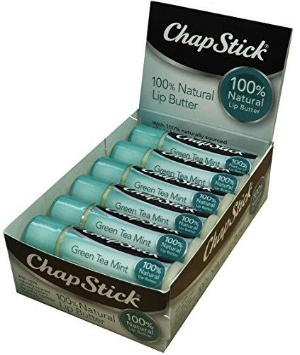 ChapStick 100% Natural Lip Butter, Green Tea Mint, 0.15 oz (Pack of 12)