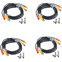 JerGO Professional Grade Siamese Combo Coaxial Cable Pre-made All-in-One BNC Video Power Cable for 1080P /720P, TVI, CVI, AHD and HD-SDI Camera and Analog CCTV Camera ( Black 50Ft )(4-Pack)