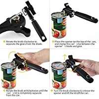 Extra Sharp Stainless Steel Cutting Wheel Can Opener Smooth Edges Black U-Taste Side-Cutting Safety Can Opener Manual