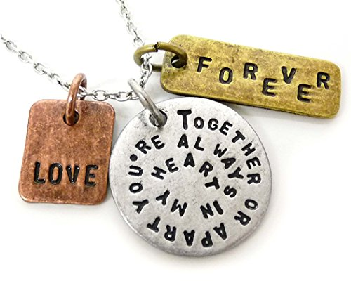 Jewelry Nexus Together Or Apart Youre Always In My Heart Love Forever Three Tone Antique Pendant Charm Necklace