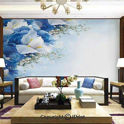 Hydrangea Dreamy (Removable Wall Mural   Self-Adhesive Large Wallpaper,Blue Hydrangeas and White Irises Over The Sea Romantic Bouquet Dreamy,Home Decor - 66x96 inches)