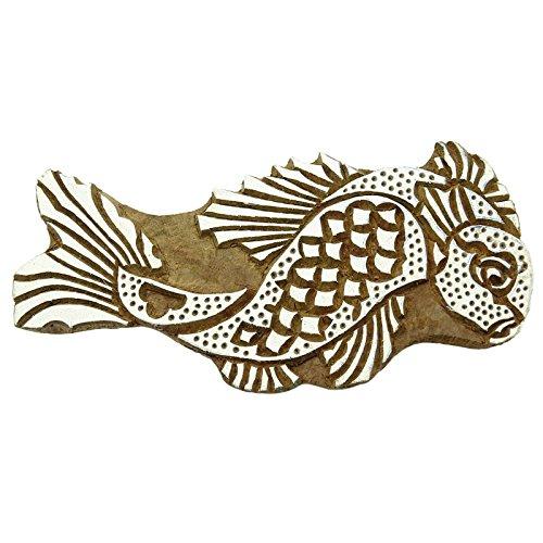 Indian Wood Stamps Fish Stamp Handcarved Printing Block Textile Stamp