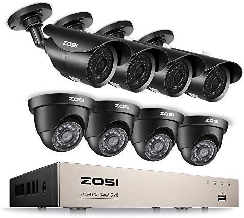 ZOSI 8CH 1080P Security Camera System HD-TVI Video DVR Recorder with 8 2.0MP Bullet and Dome Weatherproof CCTV Cameras,Day Night Vision,Motion Alert, Smartphone, PC Remote Access