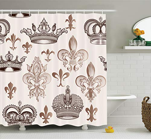 Ambesonne Fleur De Lis Decor Collection, Crowns and Fleur De Lis in Engraved Style Luxurious Fame Symbolic Artwork, Polyester Fabric Bathroom Shower Curtain Set, 75 Inches Long, Tan Beige Ivory