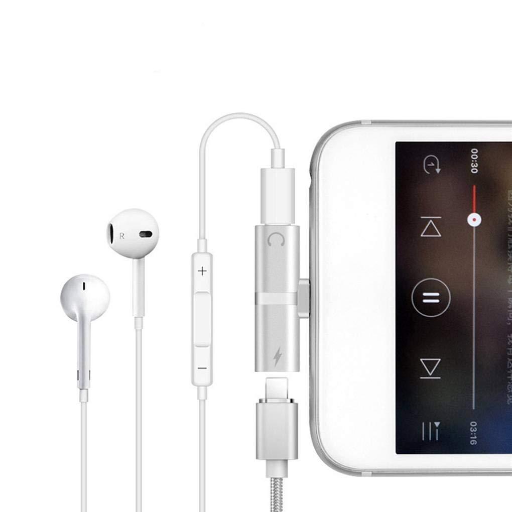 Sunlera Doble Adaptador de Enchufe para iPhone 7 8 Plus X 2 en 1 para Auriculares de 8 Pines convertidor de Audio M/úsica Calling Divisor de Carga