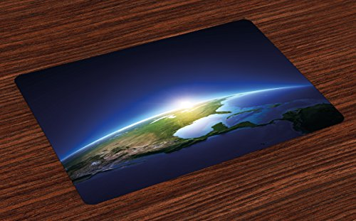 Ambesonne Earth Place Mats Set of 4, Earth Sunrise Over Cloudless North America Atmosphere Space Solar System, Washable Fabric Placemats for Dining Room Kitchen Table Decor, Blue Dark Blue Green by Ambesonne
