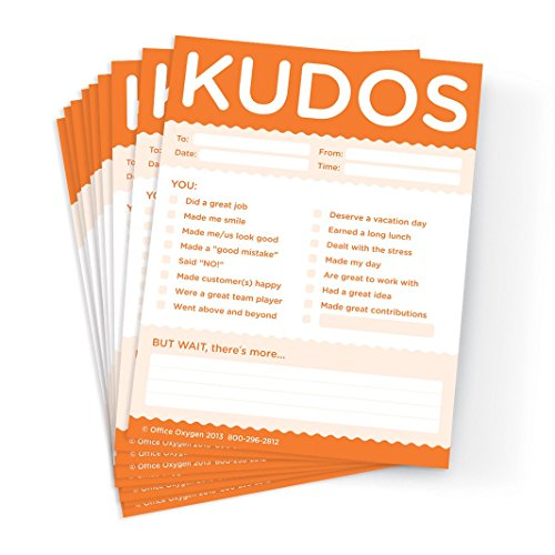 Kudos for Work - Set of 10 Orange Recognition Note Pads For Office & Classroom