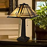 Lavish Home A1000B1 Tiffany Style Table Lamp - Mission Design Art Glass Lighting 2 LED Bulbs Included-Vintage Look Handcrafted Accent Decor - Various