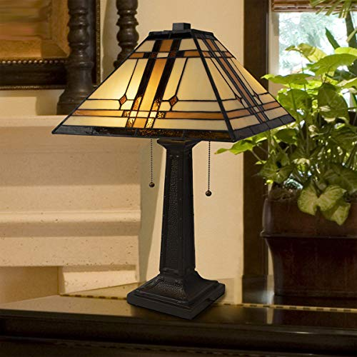 Lavish Home A100079 Tiffany Style Table Lamp - Mission Design Art Glass Lighting 2 LED Bulbs Included-Vintage Look Handcrafted Accent Decor, Multi-Color