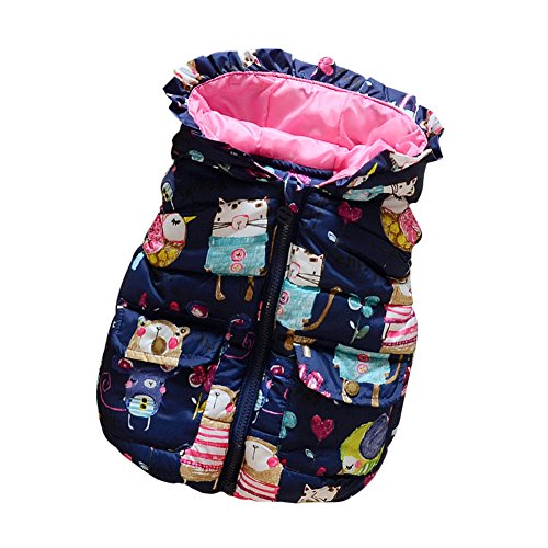 PanDaDa Baby Girl Winter Coat Animal Graffiti Print Thick Jacket 1-6T Blue