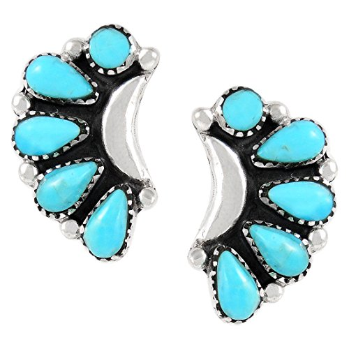 Turquoise Earrings 925 Sterling Silver Genuine Turquoise (SELECT style) (Blossoms) by Turquoise Network