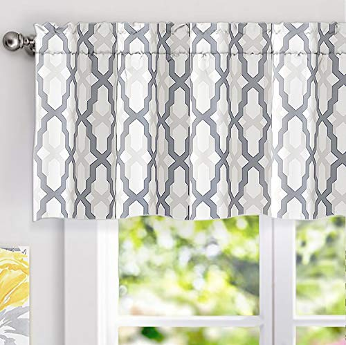Valance Curtain Patterns - DriftAway Mason Geometric Trellis Pattern Window Curtain Valance, Rod Pocket, 52