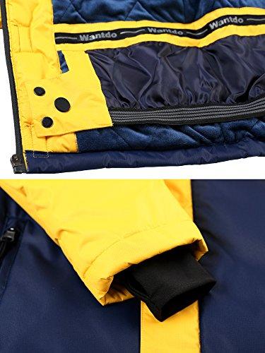 Wantdo Boy's Waterproof Quilted Ski Jacket Cotton Padded Coat Hooded Rainwear(Yellow+Dark Blue, 6/7) by Wantdo (Image #6)