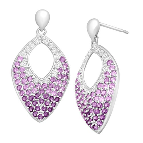 1 ct Natural Amethyst & White Topaz Marquis Drop Earrings in Sterling Silver 1 Ct Marquis