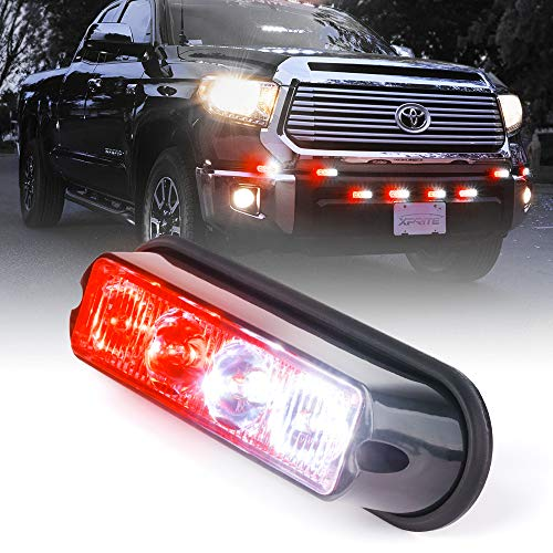 Xprite White & Red 4 LED 4 Watt Emergency Vehicle Waterproof Surface Mount Deck Dash Grille Strobe Light Warning Police Light Head with Clear Lens
