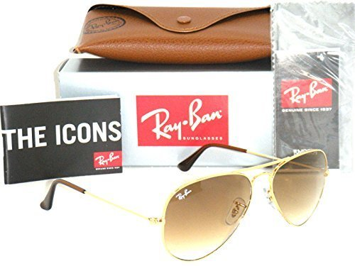 Ray-Ban 3025 Aviator RB 3025 001/51 58mm Gold Frame Brown Gradient 58mm - 3025 Ray Brown 55mm Ban Gold Gradient