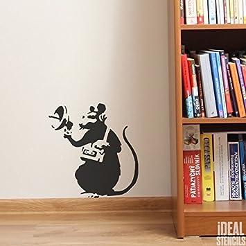 BANKSY RATTE GRAFFITI Schablone - Radar Ratte/Wiederverwendbar Heim Dekoration & Kunst Handwerk Malerei Schablone - halb geschliffen Durchsichtig Schablone, XL/54X59CM Ideal Stencils