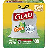 Glad OdorShield Tall Kitchen Drawstring Trash Bags - Gain Original with Febreze Freshness - 13 Gallon - 500 Count