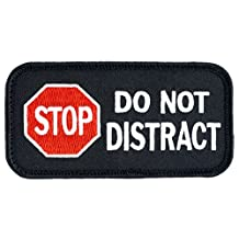 "STOP DO NOT DISTRACT Sew-On Service Dog Embroidered Patch - 4"" Wide X 2"" Tall"