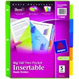 Avery Big Tab Two-Pocket Insertable Plastic Dividers, 5-Tab Set (11906)