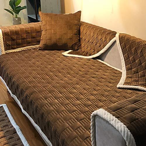 D&LE Acolchados Felpa Protector para sofás, Invierno Gruesas Antideslizante Funda de sofá Multi-Size Mascota Perro Sofá...