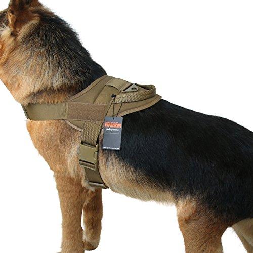 EXCELLENT ELITE SPANKER Tactical Dog Vest Training Military Patrol K9 Service Dog Harness Adjustable Nylon Dog Harness with Handle(Brown-L) -