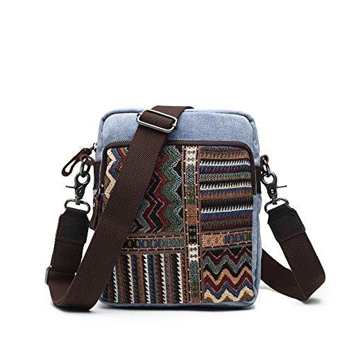 mefly el nuevo folk estilo bolso de piel de hombre, de lona bolsa de hombro para hombres y mujeres, Black grey azul