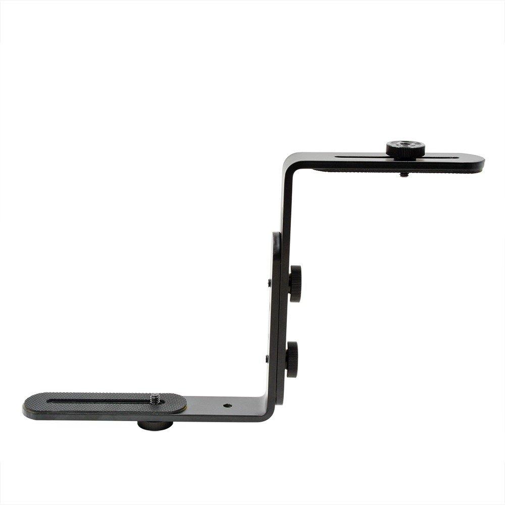 MENGS/® 1//4/tornillo doble gancho de metal en forma L Soporte para DSLR C/ámara y Flash dispositivo
