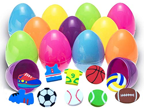 Easter Eggs filled with Sport Erasers 1 Dozen Crazy Leaf
