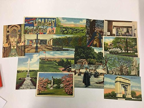 Group Of 15 Valley Forge Pennsylvania City Scene Boy Scout Antique Postcards K90240