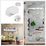 Yusylvia 1set of 12PCS Hexagon Decorative 3D Acrylic Mirror Wall Stickers Living Room Bedroom Home Decor Room Decoration (large)