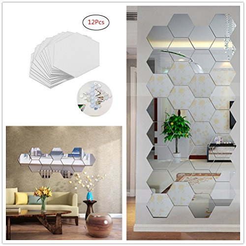 Amazon.com: Yusylvia 12PCS Hexagonal 3D Acrylic Mirrors Wall ...